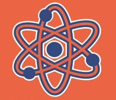 Orange and blue atoms with Mastermind logo for ESE